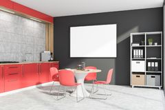Gray and red kitchen with bookcase and poster. Interior of stylish kitchen with gray walls, concrete floor, red countertops, round dining table with chairs and stock illustration