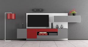 Gray and red living room with TV - 3d rendering. Gray and red living room with wall unit and TV - 3d rendering royalty free illustration