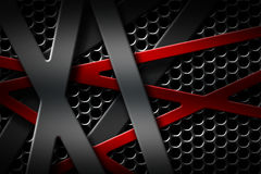 Gray and red metal frame on black grille background. Royalty Free Stock Photos