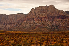 Gray and Red Moutains Past Desert of Green Stock Photo