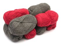 Gray and red new wool Stock Images