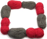 Gray and red new wool as frame Stock Photos