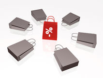 Gray and red shopping bags Royalty Free Stock Images