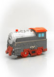 Gray-red toy train that travels quickly Royalty Free Stock Images