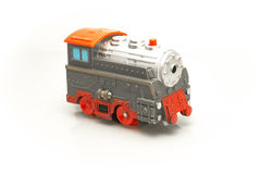 Gray-red toy train that travels quickly Stock Images