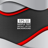 Gray and red wave abstract vector background with copy space.  stock illustration
