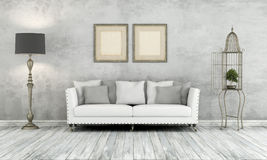 Gray retro living room Royalty Free Stock Images