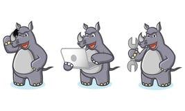 Gray Rhino Mascot con el ordenador portátil Fotografía de archivo libre de regalías