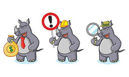 Gray Rhino Mascot Vector avec le signe Photos libres de droits
