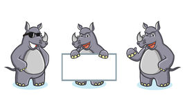 Gray Rhino Mascot Vector happy Royalty Free Stock Images