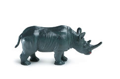 Gray rhino toy. Isolated on white background royalty free stock photos