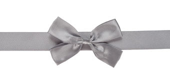 Gray ribbon with bow Royalty Free Stock Images