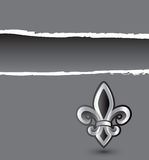 Gray ripped banner with fleur de lis Royalty Free Stock Photos