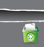 Gray ripped banner with recycle bin Stock Photos