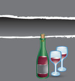 Gray ripped banner wine bottle and glasses Royalty Free Stock Images