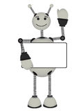 Gray Robot holds blank ad sign smiles waves. While waving a robot grips a copyspace sign Royalty Free Stock Photos