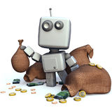 Gray Robot with money bags. Funny Gray 3D Robot with money bags isolated on white background stock illustration