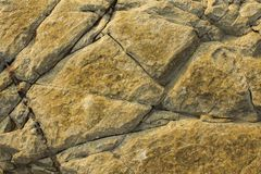 Gray rock with yellow spots and deep cracks with shadows. natural surface texture. A gray rock with yellow spots and deep cracks with shadows. natural surface royalty free stock photography