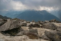 Gray Rocks in Front of Mountain Stock Photography