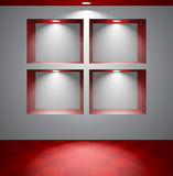 Gray room with niches Stock Images