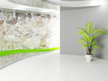 Gray room with a plant Royalty Free Stock Photos