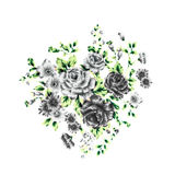 Gray Rose Fabric Background, Fragment of colorful retro tapestry Stock Photo