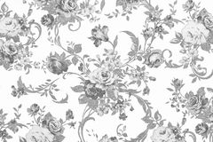 Gray rose on white fabric background, Fragment of colorful retro Stock Image