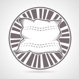 Gray round badge for pillow Royalty Free Stock Photography