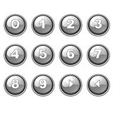 Gray round internet button collection Stock Photo