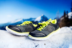 Gray running shoes Royalty Free Stock Images