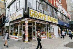 Gray's Papaya is a hot dog restaurant Stock Photos