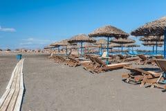 Gray Sand beach of Monolithos Santorini Stock Images