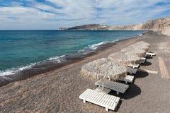Gray sand beach of Vlichada Santorini Stock Image