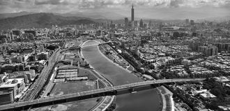 Gray Scale Aerial Photo of City Royalty Free Stock Images