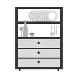 Gray scale big cupboard with items of kitchen Royalty Free Stock Photography