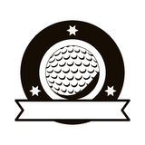 Gray scale emblem with golf ball and ribbon Royalty Free Stock Photography