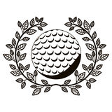 Gray scale half crown of olive branch with golf ball Stock Photography