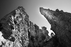 Gray Scale Image of Stone Tower Royalty Free Stock Photo