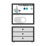 Gray scale medium cupboard with items of kitchen Royalty Free Stock Image