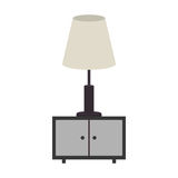 Gray scale nightstand with lamp. Illustration Stock Photography