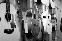 Gray Scale Photo of Acoustic Guitars Stock Images