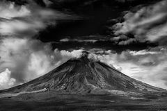 Gray Scale Photo of Active Volcano Royalty Free Stock Images