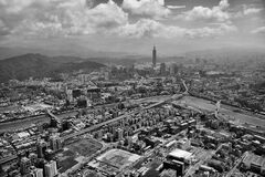 Gray Scale Photo of the City Royalty Free Stock Image
