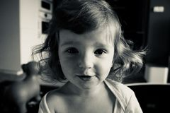 Gray Scale Photo of Girl Wearing Scoop Neck Shirt Stock Photo