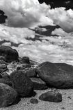 Gray Scale Photo Rocks and Clouds Stock Photos