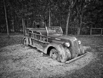 Gray Scale Photo of Vintage Car Stock Photo