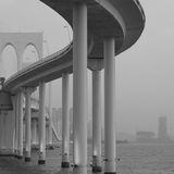 Gray Scale Photography of Bridge Stock Images