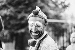 Gray Scale Photography of Male Clown Royalty Free Stock Images
