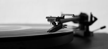 Gray Scale Photography of Turntable Royalty Free Stock Photography