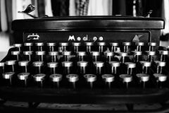 Gray Scale Photography of Typewriter Royalty Free Stock Images
